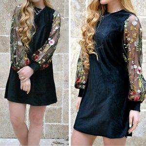 Dresses & Skirts - Boho Embroidered floral velvet tunic black dress